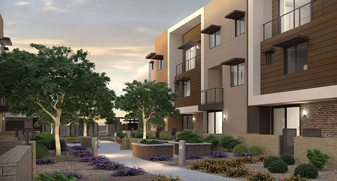 Rendering of community grounds at dusk at Aerium Encore in Scottsdale