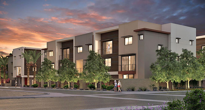 Exterior rendering of Aerium Scottsdale at dusk