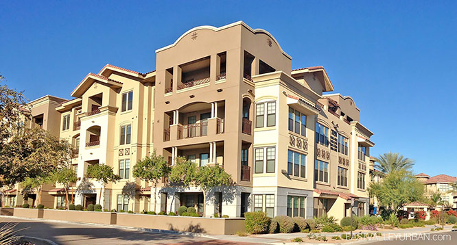 Exterior view of the buildings in the Artesia Condo complex in Scottsdale