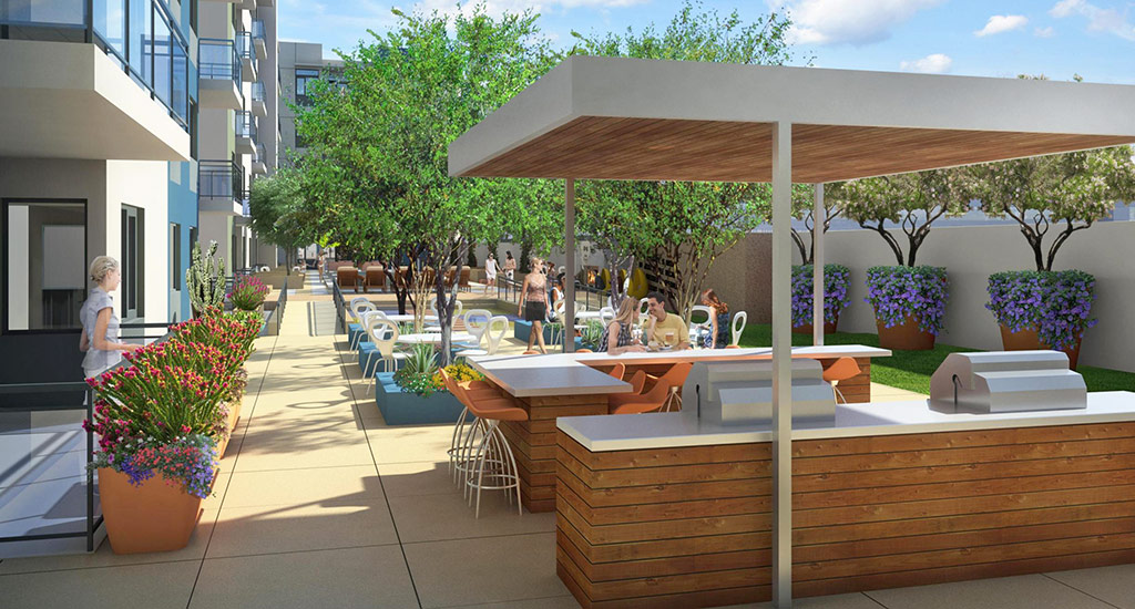Rendering of the BBQ grills at community pool of Edison Midtown community in Phoenix