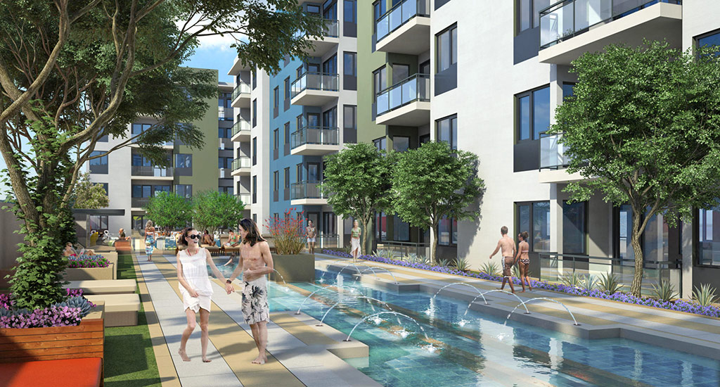 Rendering of community pool at Edison Midtown in Phoenix