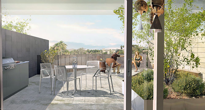 Outdoor balcony rendering of Eldorado on 1st project in Scottsdale