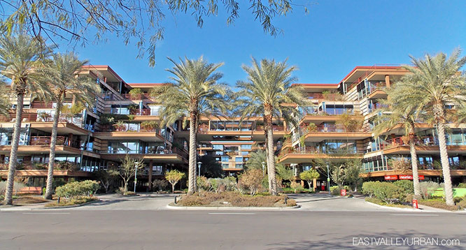 Southern entrance and elevation view of Optima Camelview Village in Scottsdale