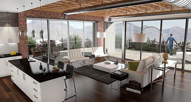 Interior rendering of penthouse loft at Soho Scottsdale Condominiums
