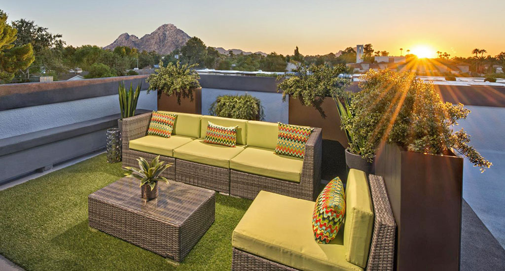 View of sunset on rooftop deck at 240 Missouri in Phoenix, AZ