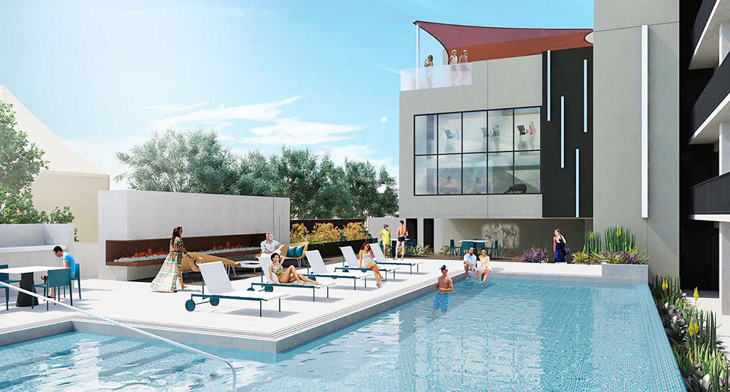 Rendering of community pool at Contour on Campbell in Phoenix, AZ