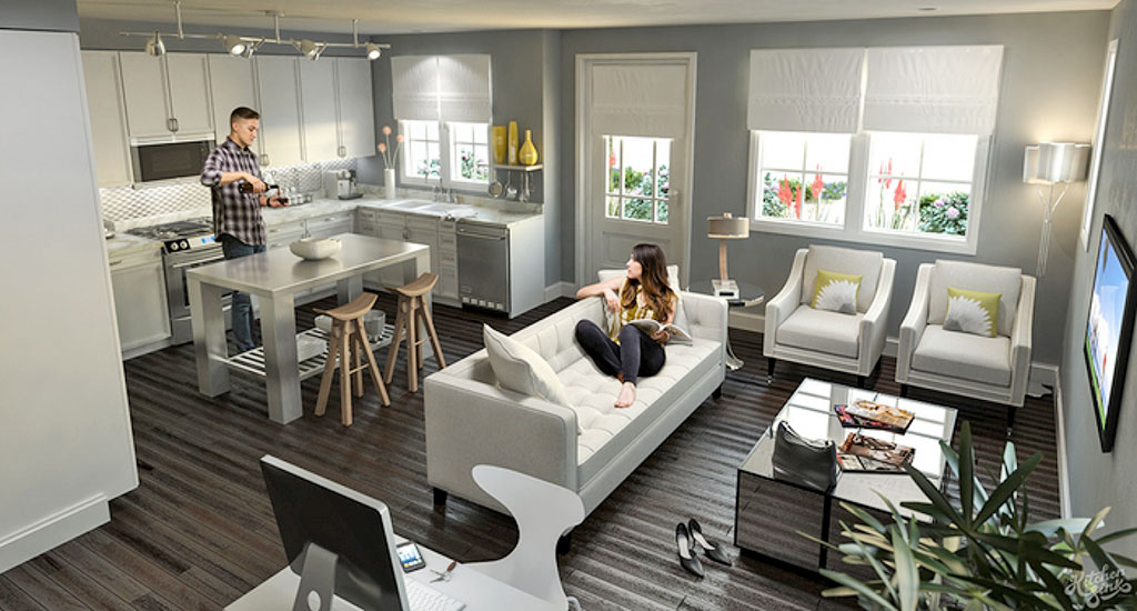 Interior rendering of family room and kitchen at Edgemont 12 in Phoenix, AZ