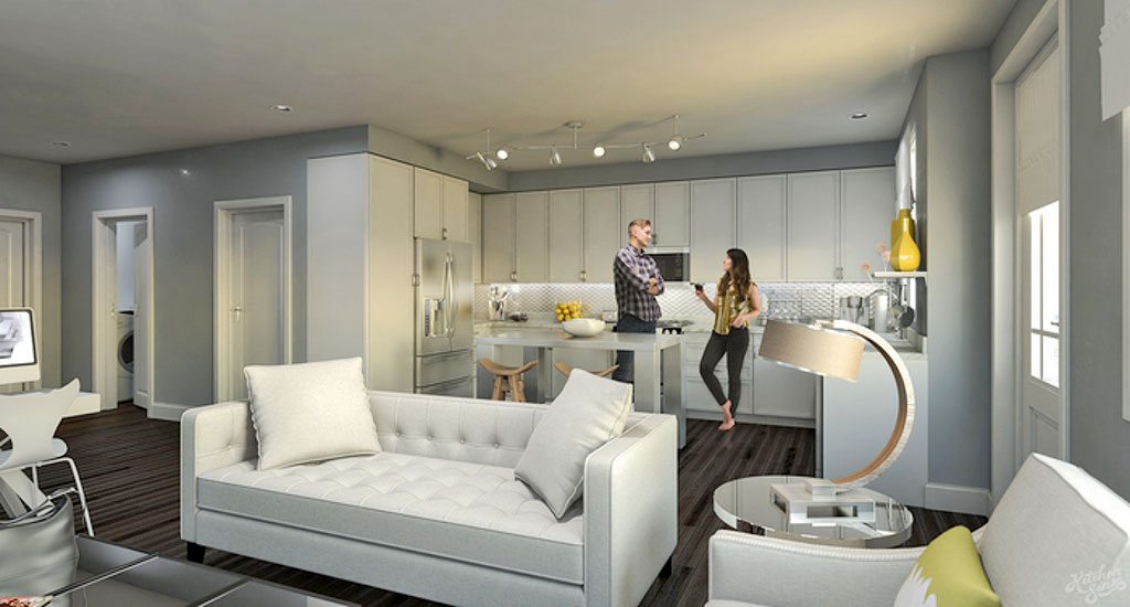 Interior rendering of the kitchen and living space at Edgemont 12 in Phoenix, AZ