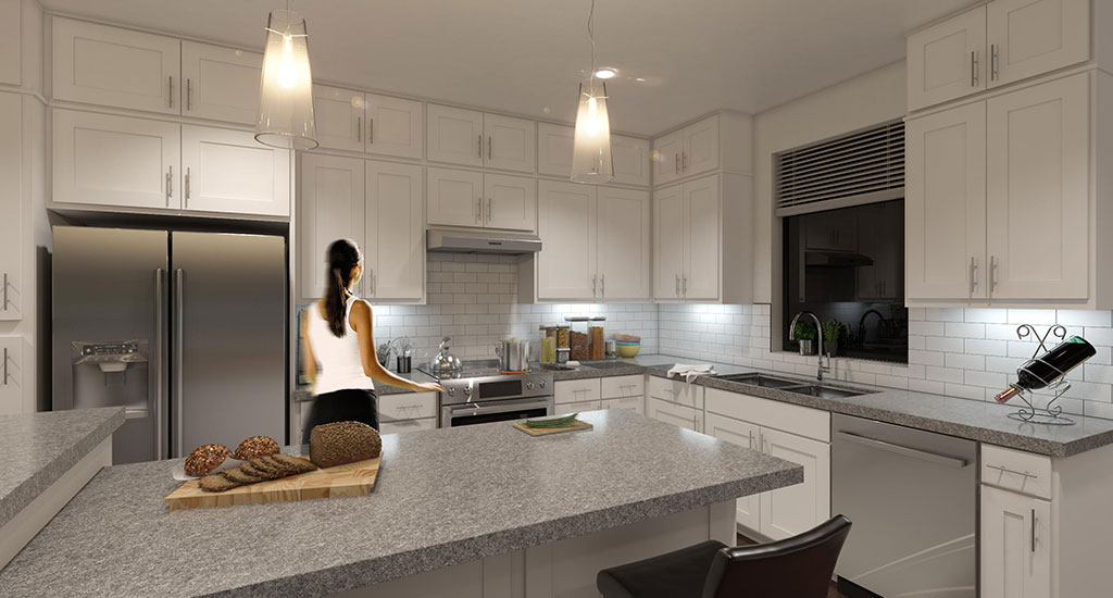 Kitchen rendering at Center 8 in Phoenix, AZ