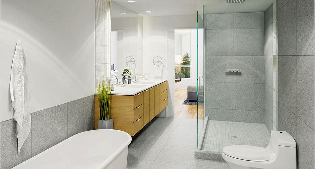 Rendering of bathroom at Contour on Campbell in Phoenix, AZ