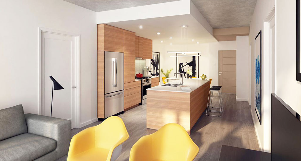 Rendering of kitchen at Contour on Campbell in Phoenix, AZ
