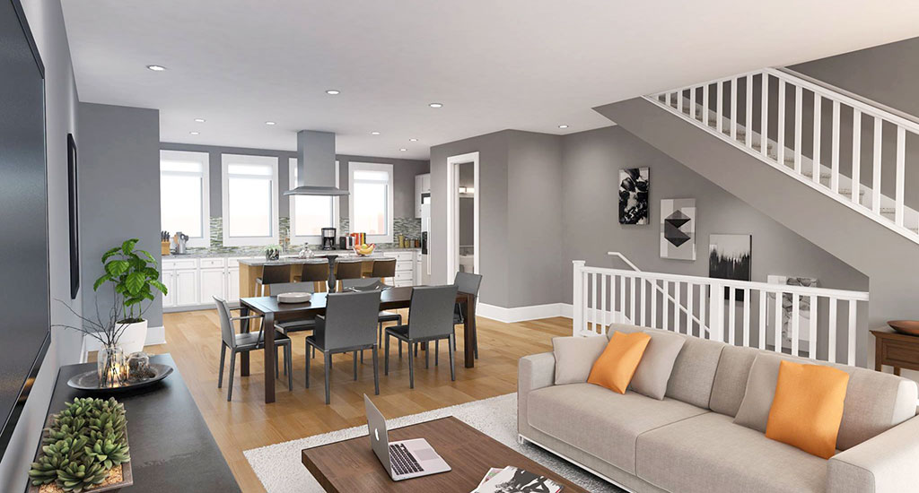 Living room rendering at The Mason in Phoenix, AZ