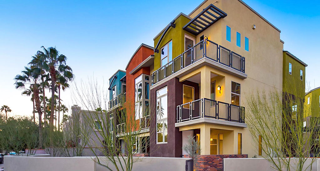 Exterior view of Trio Lofts in Scottsdale, AZ